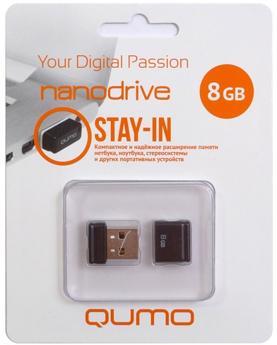 Флешка usb Qumo 8GB USB 2.0 Nano black